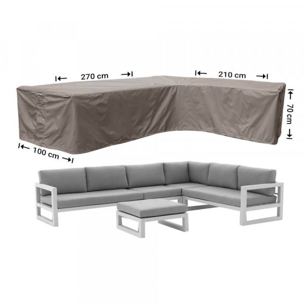 Outdoor L-shaped cover 270 x 210 x 100, H: 70 cm
