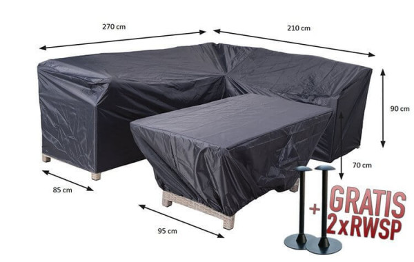 Complete diningset cover 270 x 210 x 85 H: 90 cm