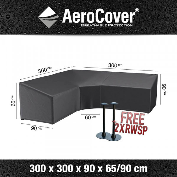 L-shaped dining lounge furniture cover 300 x 300 H: 90 - 65 cm