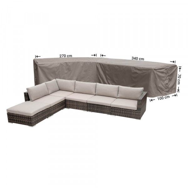 Cover for rattan corner sofa 340 x 270 x 100, H: 70 cm