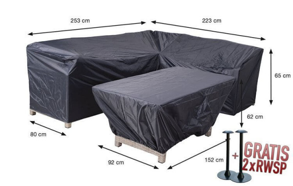 Cover for cornersofa and table 253 x 223 x 80 H: 65 cm
