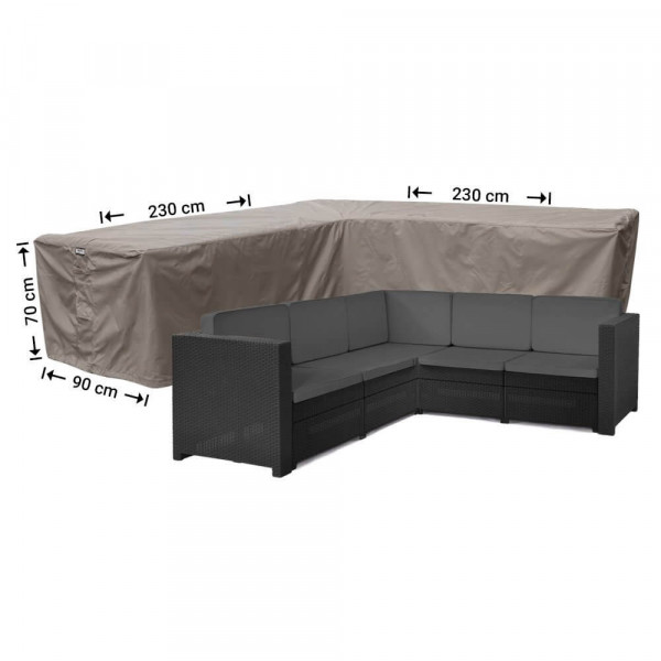 Rattan corner sofa cover 230 x 230 x 90, H: 70 cm