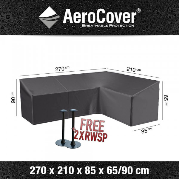 Cover for L-shaped dining sofa 270 x 210 H: 90 - 65 cm