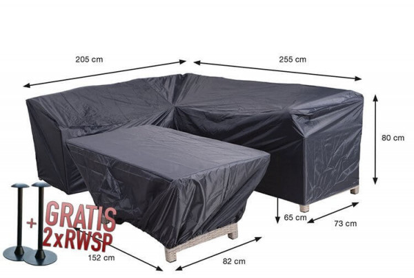 Cover for loungesofa with table 255 x 205 x 73 H: 80 cm