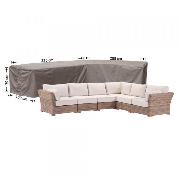 Cover for rattan corner sofa 330 x 255 x 100, H: 70 cm