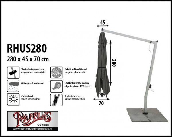 Cover for a hanging parasol, H: 280 cm