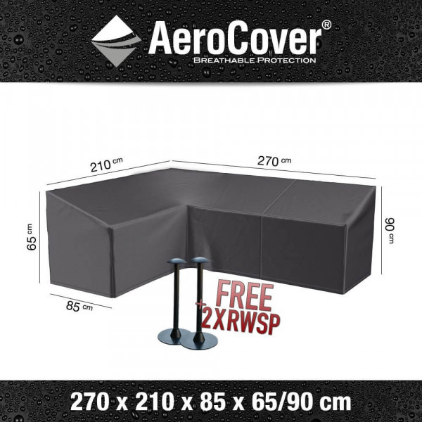 Cover for L-shaped lounge sofa with high backrest 270 x 210 H: 90 - 65 cm