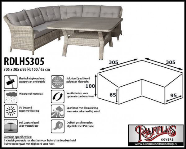 Cover for L-Shaped dining sofa 305 x 305 x 95, H: 100 / 65 cm