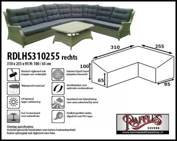 Cover for dining corner sofa 310 x 255 x 95, H: 100 / 65 cm
