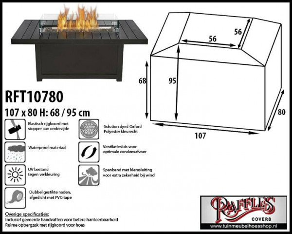 Cover for fire pit table 107 x 80 H: 68/95 cm