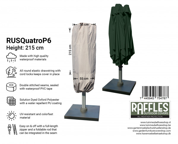 Cover for P6 horeca parasol with 4 canvasses H: 215 cm