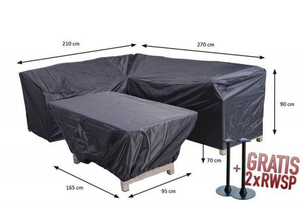 Corner diningset + table cover 270 x 210 x 85 H: 90 cm