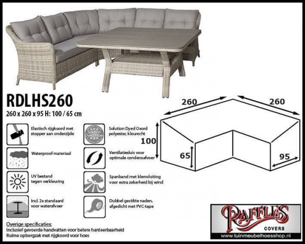 Cover for dining loungeset 260 x 260 x 95, H: 100 / 65 cm