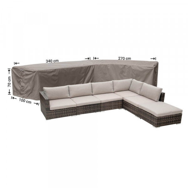 L-shaped outdoor sofa cover 340 x 270 x 100, H: 70 cm