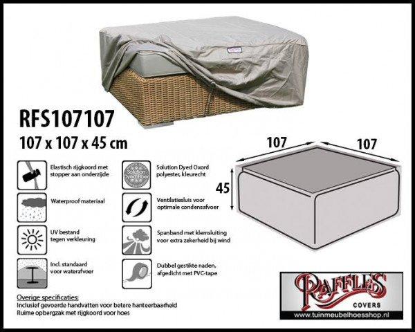 Cover for rattan hocker 107 x 107 H: 45 cm