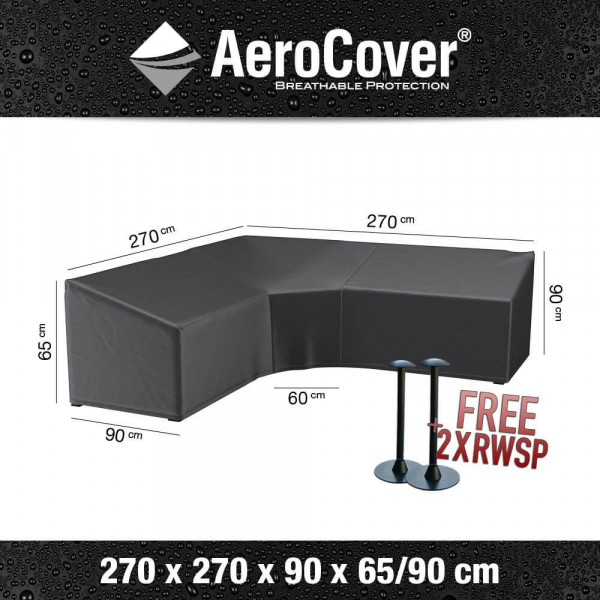 Cover for L-shaped dining sofa 270 x 270 H: 90 - 65 cm