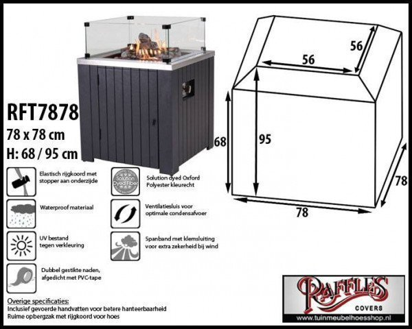Square fire pit cover 78 x 78 H: 68/95 cm